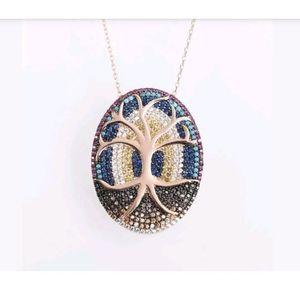 Tree of life & soil of man multi gemstone pendant